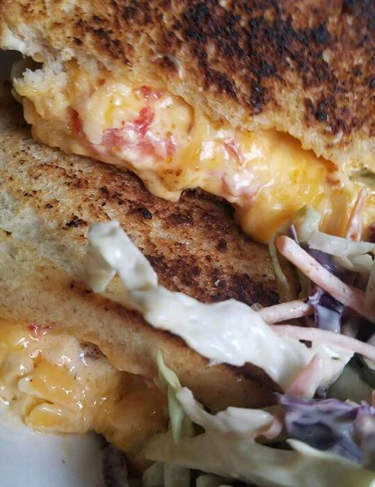 close up of grilled cheese sandwich